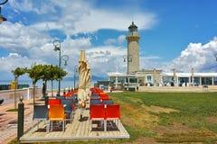灯塔惊人的看法在帕特雷,伯罗奔尼撒 免版税库存图片
