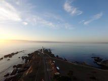 灯塔日落的点竞技场加利福尼亚 免版税库存照片