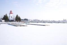 灯塔海滨广场雪 免版税库存照片