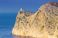 灯塔盖帽Formentor马略卡马略卡copyspace Mediterranea 库存图片