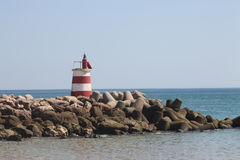 灯塔,海岛Tavira葡萄牙 库存照片