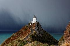 灯塔,矿块点,新西兰 免版税库存照片