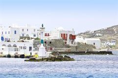 灯塔,米科诺斯岛,希腊 免版税库存照片