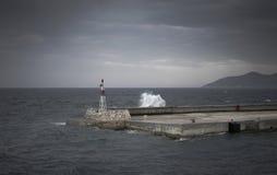 灯塔, Pythagorio,萨莫斯岛,希腊 免版税库存图片