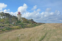 灯塔, Westermarkelsdorf,费马恩,德国 库存照片