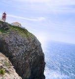 灯塔:cabo圣维森特,阿尔加威 葡萄牙 免版税库存照片