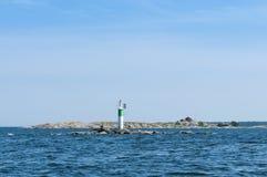 灯塔Gavlehasten Aaland海瑞典 免版税库存图片