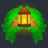 灯笼在云杉的分支站立,并且蜡烛光发光温暖的杉木锥体,传染媒介例证 免版税库存照片