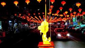 灯笼在农历新年节日期间的夜仰光,缅甸 股票录像