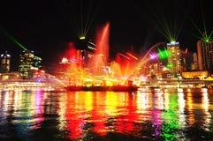 灯节Southbank布里斯班市河,澳大利亚 免版税库存照片