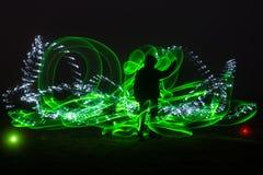 绿灯绘画和剪影 免版税库存照片