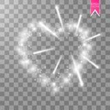 灯ith光亮烟花的心脏在透明背景的 可用的看板卡日文件华伦泰向量 与题字的心脏我 免版税库存图片