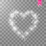 灯ith光亮烟花的心脏在透明背景的 可用的看板卡日文件华伦泰向量 与题字的心脏我 库存照片