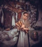 灰姑娘的图象的小女孩 免版税库存照片