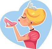 灰姑娘Kissing Magic Shoe公主传染媒介例证 库存图片