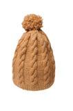 灰棕色被编织的帽子 免版税库存图片