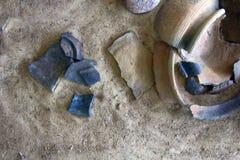 灰泥和瓦器从斯拉夫语(和Vikin的陶瓷10-11世纪 免版税库存照片