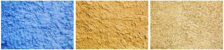 灰泥墙壁拼贴画蓝色金子概略的纹理 免版税库存图片
