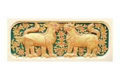 灰泥12黄道带传统泰国样式艺术  免版税库存图片