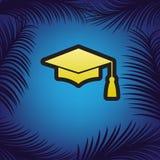 灰浆板或毕业盖帽,教育标志 向量 金黄 向量例证
