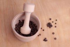 灰浆用胡椒和木灰浆 库存图片