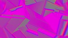 灰色丁香抽象多角形打破的形状动摇无缝的圈 3D动画 库存例证