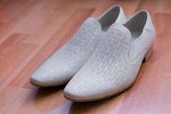 灰色人的鞋子 库存照片