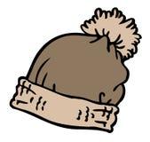 灰色冬天帽子动画片 库存例证