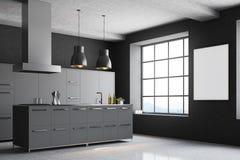 灰色厨房角落,方形的窗口 免版税库存照片