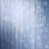 灰色发光的雨。 抽象水背景设计 免版税库存照片