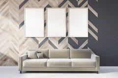 灰色和木客厅,海报画廊,沙发 向量例证
