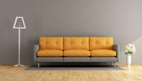 灰色和橙色客厅 向量例证