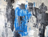 灰色和蓝色抽象派绘画 免版税图库摄影