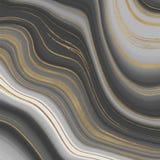 灰色和金黄闪烁墨水绘画摘要样式 液体大理石纹理 墙纸的,飞行物,海报,卡片时髦背景 皇族释放例证