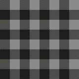 灰色和黑色美洲野牛检查格子花呢披肩无缝的样式 库存例证