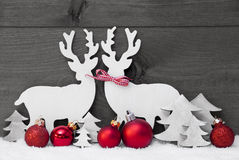 灰色圣诞节装饰,驯鹿夫妇,爱,雪,红色球 库存图片