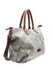 灰色在白色背景的被仿造的妇女的袋子 免版税库存图片