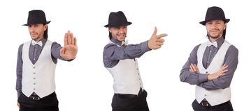 灰色在白色隔绝的衬衣和黑帽会议的年轻人 库存照片