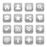 灰色基本的标志环绕了方形的象网按钮 免版税库存照片
