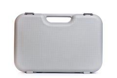 灰色塑料工具箱孤立白色背景 免版税库存照片