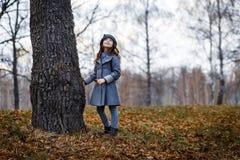 灰色外套和灰色帽子的一逗人喜爱的女孩在橡木的厚实的老橡木附近在日落 库存照片