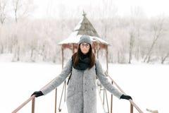 灰色外套的女孩在一座桥梁在冬天 免版税库存图片