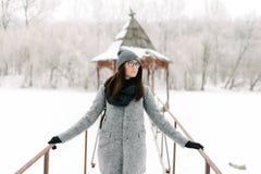 灰色外套的女孩在一座桥梁在冬天 图库摄影