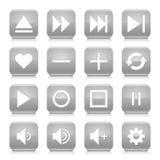 灰色媒介标志环绕了方形的象网按钮 免版税库存照片