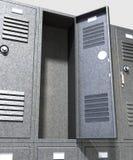 灰色学校衣物柜透视 库存图片