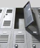 灰色学校衣物柜透视 免版税库存图片