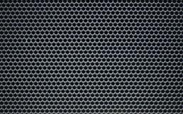 灰色宏观圆的金属栅格网纹理 免版税图库摄影