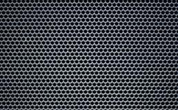 灰色宏观金属栅格圆的孔入蜂巢纹理 免版税库存图片