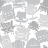 灰色扶手椅子的无缝的传染媒介样式 免版税库存照片