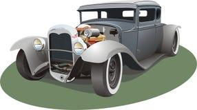 灰色旧车改装的高速马力汽车 免版税库存照片